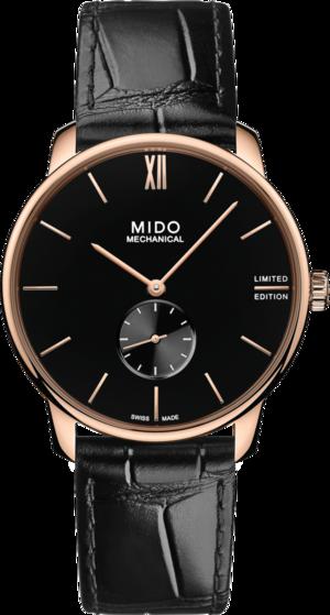 Damenuhr Mido Baroncelli Mechanical 39mm Limited Edition mit schwarzem Zifferblatt und Armband aus Kalbsleder mit Krokodilprägung