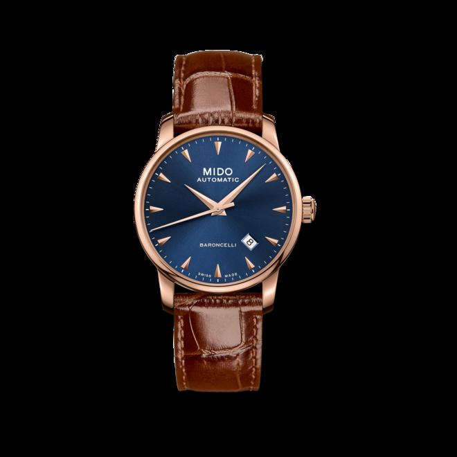 Herrenuhr Mido Midnight Blue mit blauem Zifferblatt und Armband aus Kalbsleder mit Krokodilprägung bei Brogle