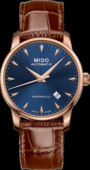Herrenuhr Mido Midnight Blue mit blauem Zifferblatt und Armband aus Kalbsleder mit Krokodilprägung