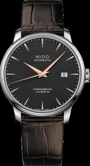 Herrenuhr Mido Mido Baroncelli III Chronometer mit schwarzem Zifferblatt und Armband aus Kalbsleder mit Krokodilprägung