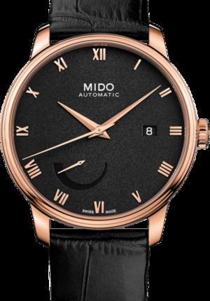 Herrenuhr Mido Baroncelli Power Reserve mit schwarzem Zifferblatt und Kalbsleder-Armband