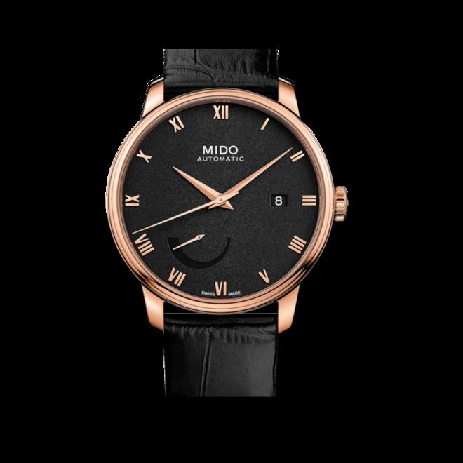 Herrenuhr Mido Baroncelli Power Reserve mit schwarzem Zifferblatt und Kalbsleder-Armband bei Brogle