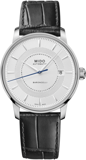 Herrenuhr Mido Baroncelli Signature mit silberfarbenem Zifferblatt und Rindsleder-Armband