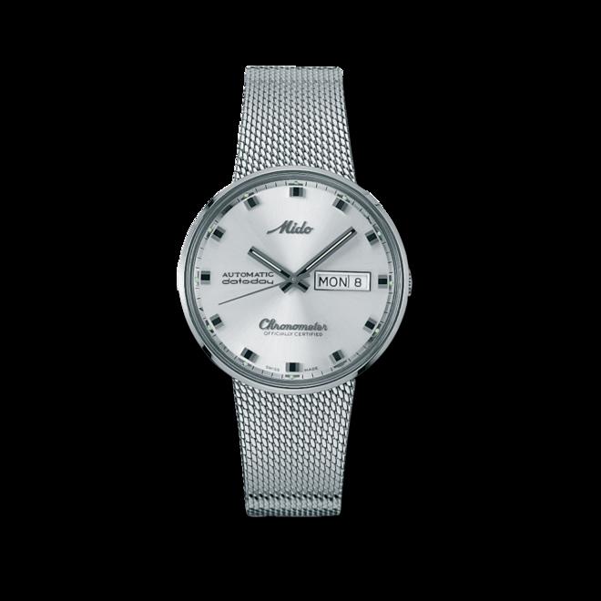 Armbanduhr Mido Commander 1959 Chronometer mit silberfarbenem Zifferblatt und Edelstahlarmband bei Brogle