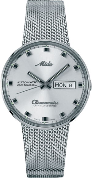 Armbanduhr Mido Commander 1959 Chronometer mit silberfarbenem Zifferblatt und Edelstahlarmband
