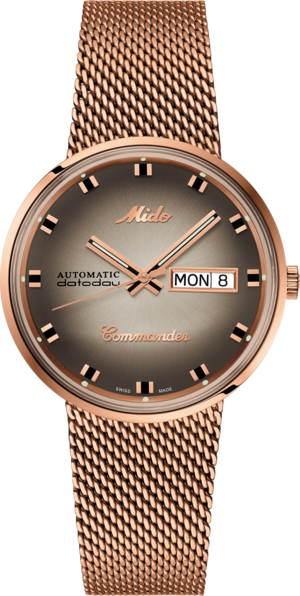 Armbanduhr Mido Commander 1959 mit braunem Zifferblatt und Edelstahlarmband