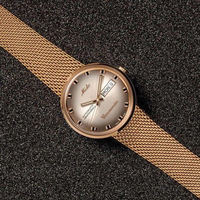 Armbanduhr Mido Commander 1959 mit braunem Zifferblatt und Edelstahlarmband bei Brogle