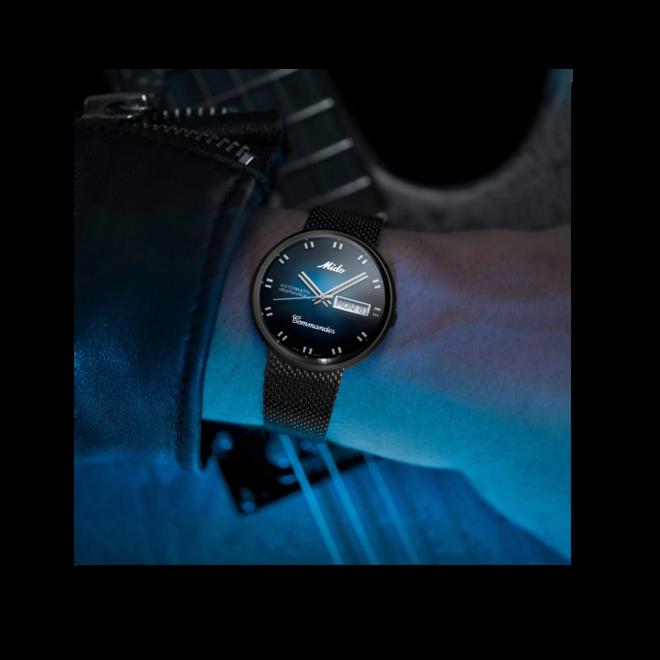 Armbanduhr Mido Commander 1959 mit blauem Zifferblatt und Edelstahlarmband bei Brogle