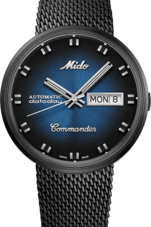 Armbanduhr Mido Commander 1959 mit blauem Zifferblatt und Edelstahlarmband