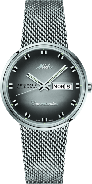 Armbanduhr Mido Commander 1959 mit anthrazitfarbenem Zifferblatt und Edelstahlarmband
