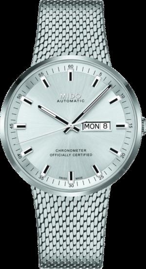 Herrenuhr Mido Commander Icône Gent Chronometer mit silberfarbenem Zifferblatt und Edelstahlarmband
