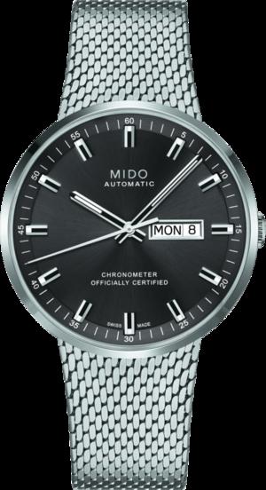 Herrenuhr Mido Commander Icône Gent Chronometer mit anthrazitfarbenem Zifferblatt und Edelstahlarmband