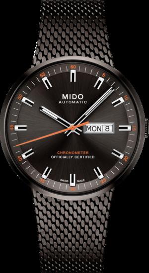 Herrenuhr Mido Commander Icône Gent Chronometer mit schwarzem Zifferblatt und Edelstahlarmband