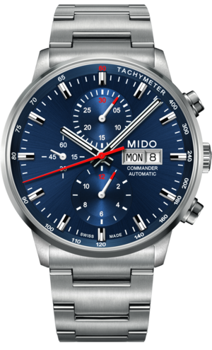 Herrenuhr Mido Commander II Chronograph mit blauem Zifferblatt und Edelstahlarmband