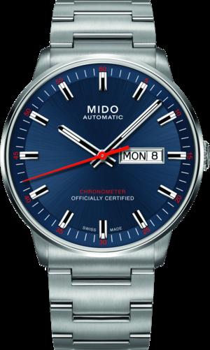 Herrenuhr Mido Commander II Chronometer mit blauem Zifferblatt und Edelstahlarmband