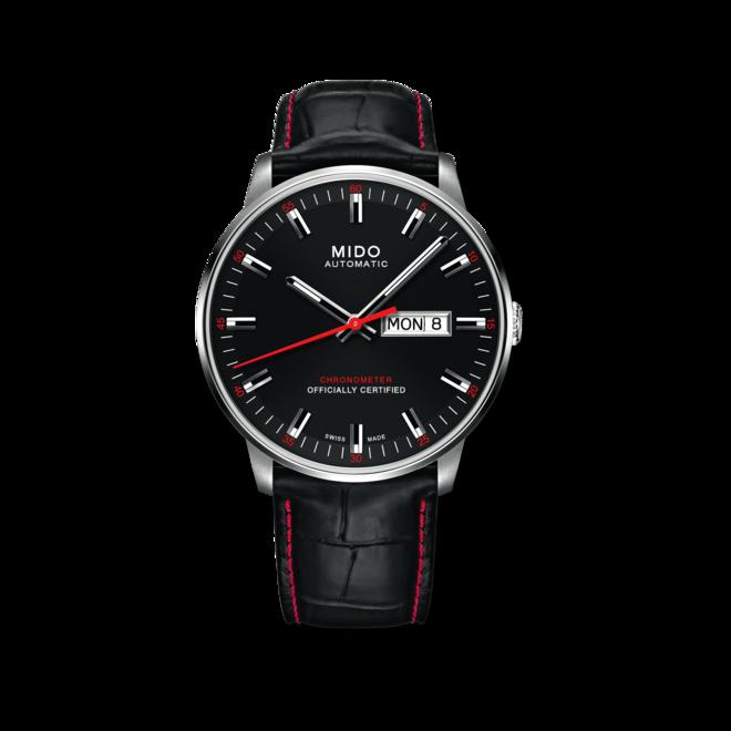 Herrenuhr Mido Commander II Chronometer mit schwarzem Zifferblatt und Armband aus Kalbsleder mit Krokodilprägung bei Brogle