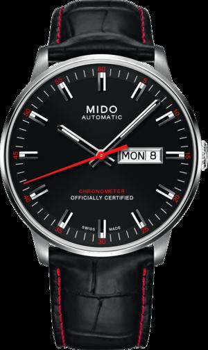 Herrenuhr Mido Commander II Chronometer mit schwarzem Zifferblatt und Armband aus Kalbsleder mit Krokodilprägung