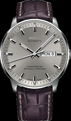 Herrenuhr Mido Commander II Chronometer mit silberfarbenem Zifferblatt und Armband aus Kalbsleder mit Krokodilprägung