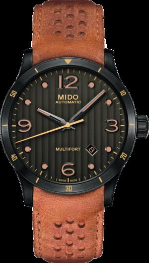Herrenuhr Mido Multifort Aluminium Bezel mit schwarzem Zifferblatt und Kalbsleder-Armband