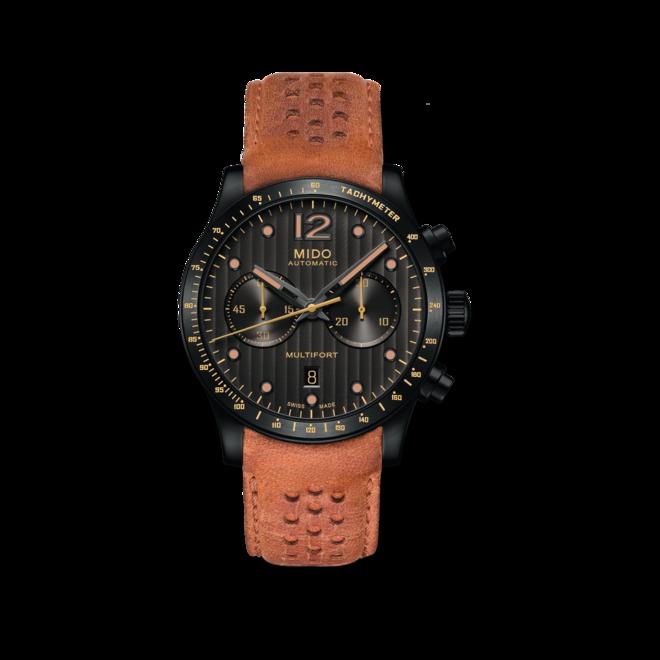 Herrenuhr Mido Multifort Chronograph Aluminium Bezel mit schwarzem Zifferblatt und Kalbsleder-Armband bei Brogle