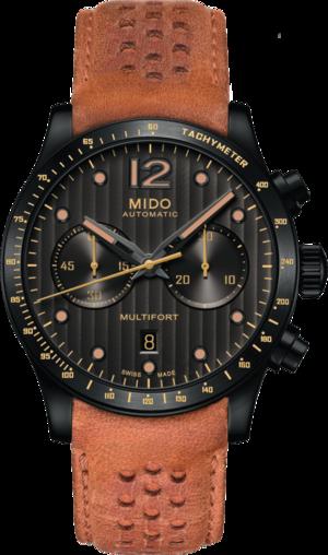 Herrenuhr Mido Multifort Chronograph Aluminium Bezel mit schwarzem Zifferblatt und Kalbsleder-Armband