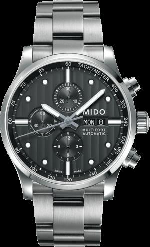 Herrenuhr Mido Multifort Chronograph mit grauem Zifferblatt und Edelstahlarmband