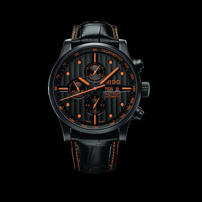 Herrenuhr Mido Multifort Chronograph Special Edition mit schwarzem Zifferblatt und Armband aus Kalbsleder mit Krokodilprägung bei Brogle