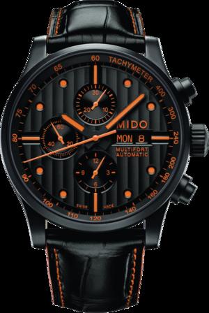 Herrenuhr Mido Multifort Chronograph Special Edition mit schwarzem Zifferblatt und Armband aus Kalbsleder mit Krokodilprägung