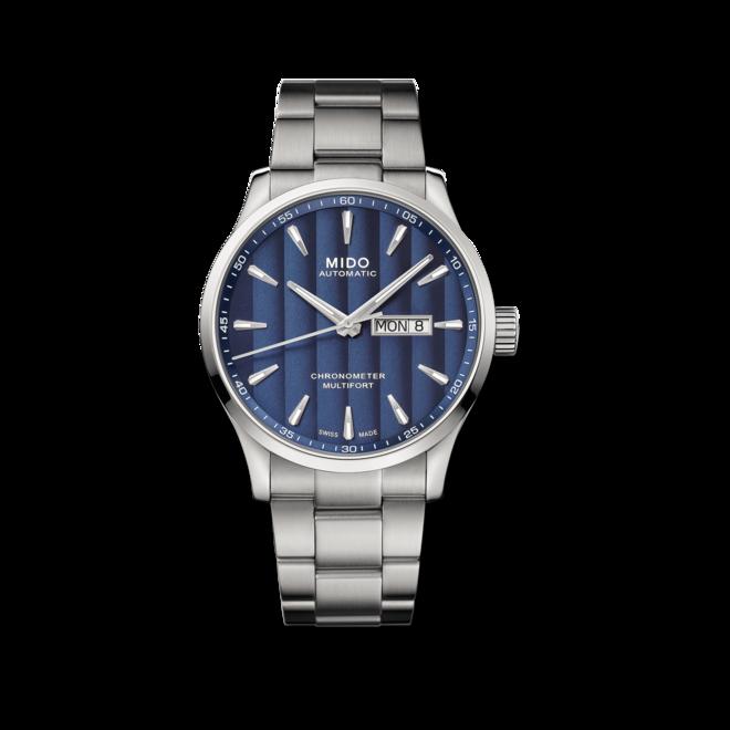 Herrenuhr Mido Multifort Chronometer 1 mit blauem Zifferblatt und Edelstahlarmband bei Brogle