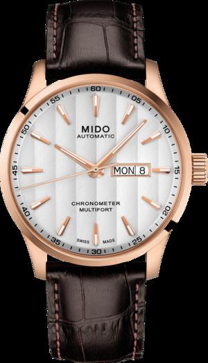 Herrenuhr Mido Multifort Chronometer mit silberfarbenem Zifferblatt und Armband aus Kalbsleder mit Krokodilprägung