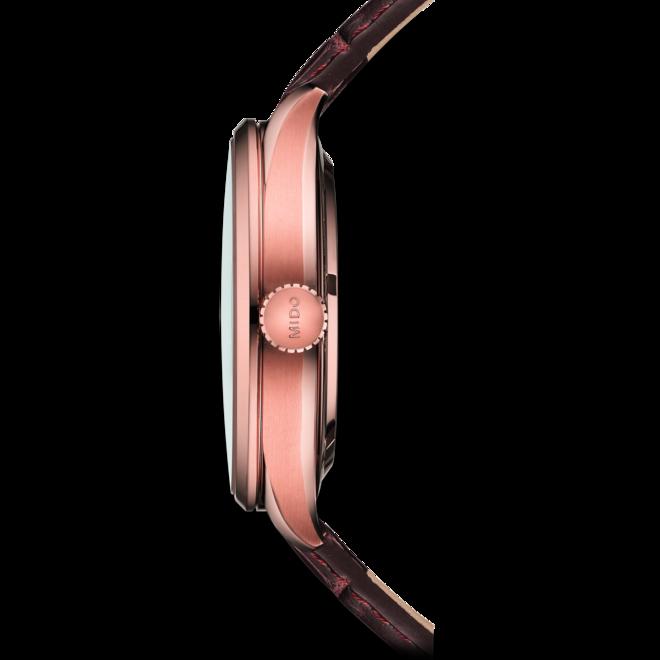 Herrenuhr Mido Multifort Chronometer mit silberfarbenem Zifferblatt und Armband aus Kalbsleder mit Krokodilprägung bei Brogle
