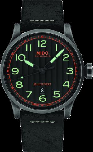 Herrenuhr Mido Multifort Escape mit schwarzem Zifferblatt und Kalbsleder-Armband