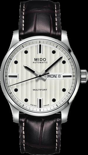 Herrenuhr Mido Multifort Gent mit silberfarbenem Zifferblatt und Armband aus Kalbsleder mit Krokodilprägung