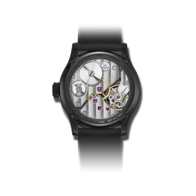 Herrenuhr Mido Multifort Mechanical Skeleton Limited Edition 44mm mit silberfarbenem/schwarzem Zifferblatt und Textilarmband bei Brogle