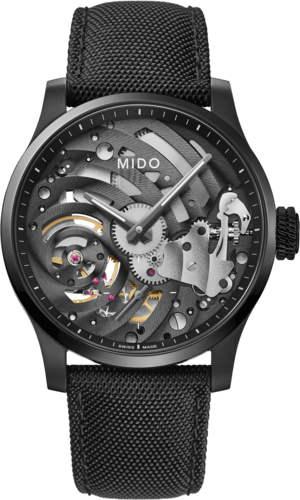 Herrenuhr Mido Multifort Mechanical Skeleton Limited Edition 44mm mit silberfarbenem/schwarzem Zifferblatt und Textilarmband