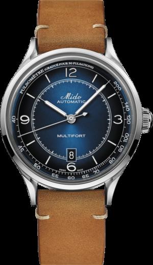 Herrenuhr Mido Patrimony Automatik mit blauem Zifferblatt und Kalbsleder-Armband