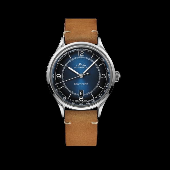 Herrenuhr Mido Patrimony Automatik mit blauem Zifferblatt und Kalbsleder-Armband bei Brogle
