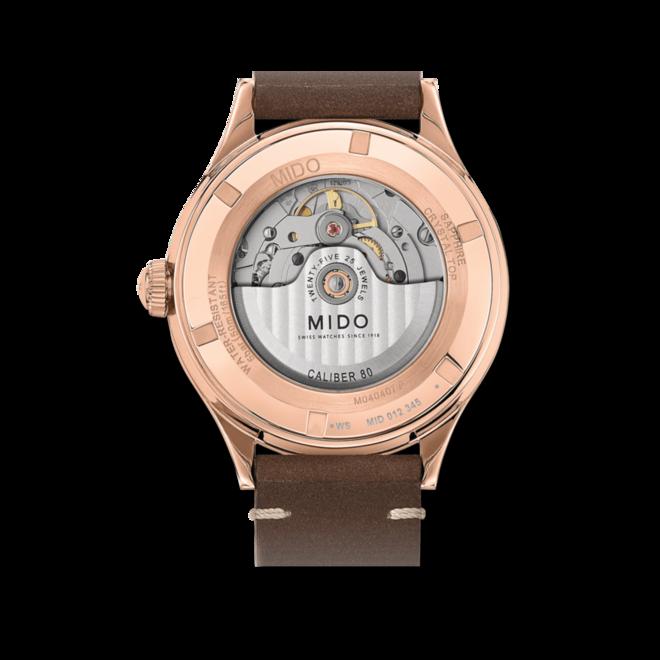Herrenuhr Mido Patrimony Automatik mit grauem Zifferblatt und Kalbsleder-Armband bei Brogle