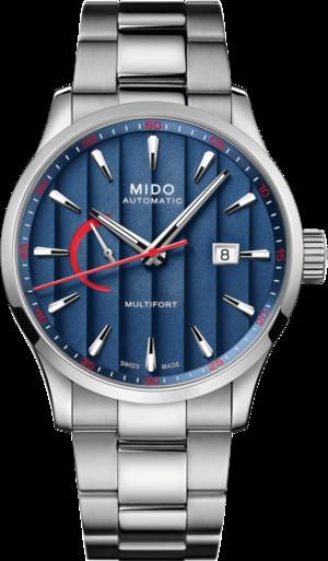 Herrenuhr Mido Multifort Power Reserve 42mm mit blauem Zifferblatt und Edelstahlarmband