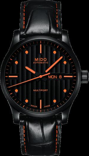 Herrenuhr Mido Multifort Special Edition mit schwarzem Zifferblatt und Armband aus Kalbsleder mit Krokodilprägung