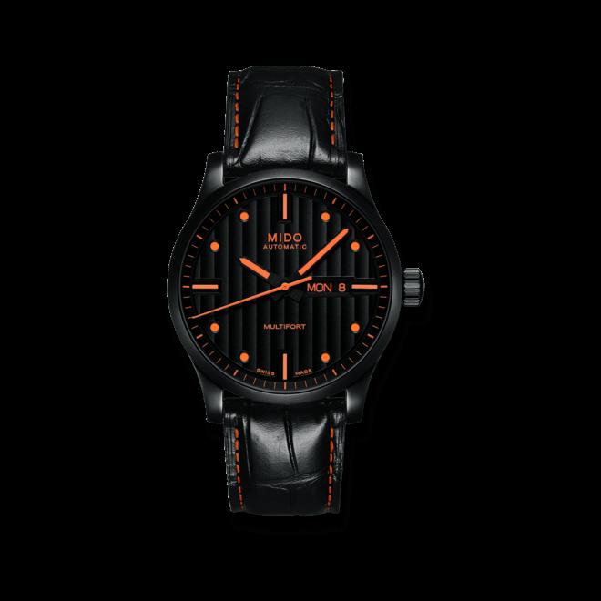 Herrenuhr Mido Multifort Special Edition mit schwarzem Zifferblatt und Armband aus Kalbsleder mit Krokodilprägung bei Brogle