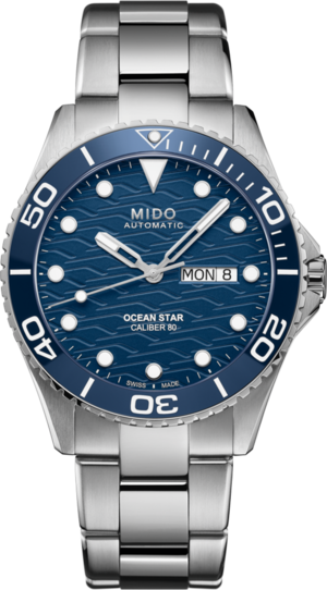 Herrenuhr Mido Ocean Star 200C mit blauem Zifferblatt und Edelstahlarmband