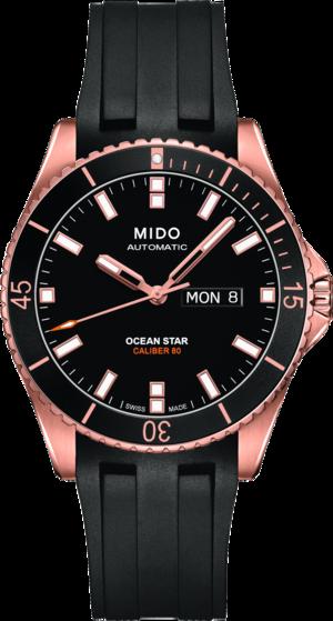 Herrenuhr Mido Ocean Star Captain Caliber 80 mit schwarzem Zifferblatt und Kautschukarmband