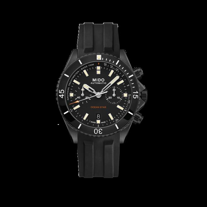 Herrenuhr Mido Ocean Star Chronograph 44mm mit schwarzem Zifferblatt und Kautschukarmband bei Brogle