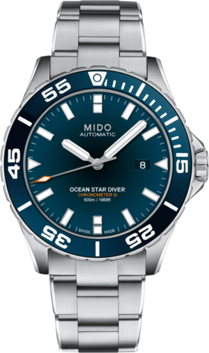 Herrenuhr Mido Ocean Star COSC 60 bar mit blauem Zifferblatt und Edelstahlarmband