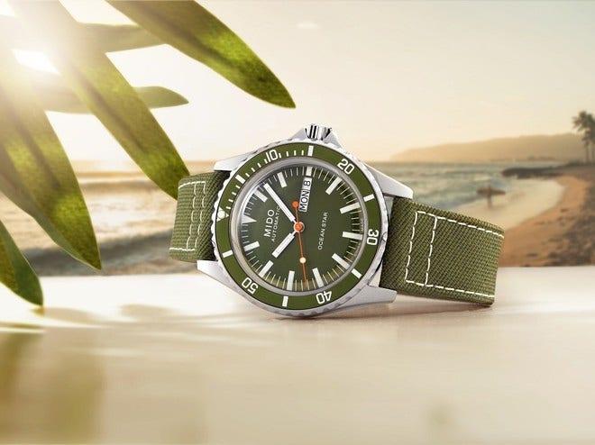 Herrenuhr Mido Ocean Star Tribute mit grünem Zifferblatt und Textilarmband bei Brogle