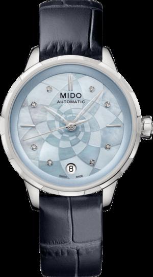 Damenuhr Mido Rainflower Lady Automatik mit Diamanten, blauem Zifferblatt und Armband aus Kalbsleder mit Krokodilprägung