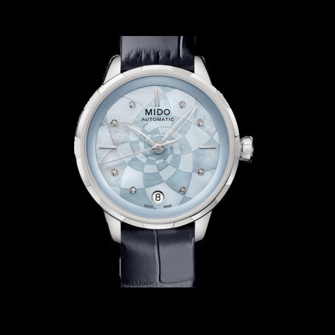Damenuhr Mido Rainflower Lady Automatik mit Diamanten, blauem Zifferblatt und Armband aus Kalbsleder mit Krokodilprägung bei Brogle