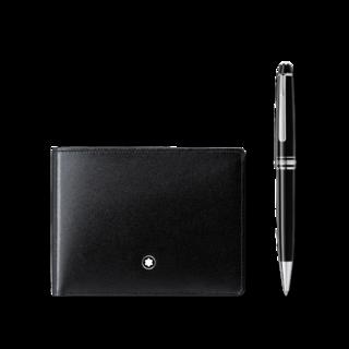 Montblanc Set aus Meisterstück Platinum Classique Kugelschreiber und Meisterstück Brieftasche 6 cc 117084