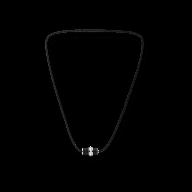 Halskette mit Anhänger Montblanc Gleitring aus PVD-Beschichtung auf Edelstahl und Kalbsleder